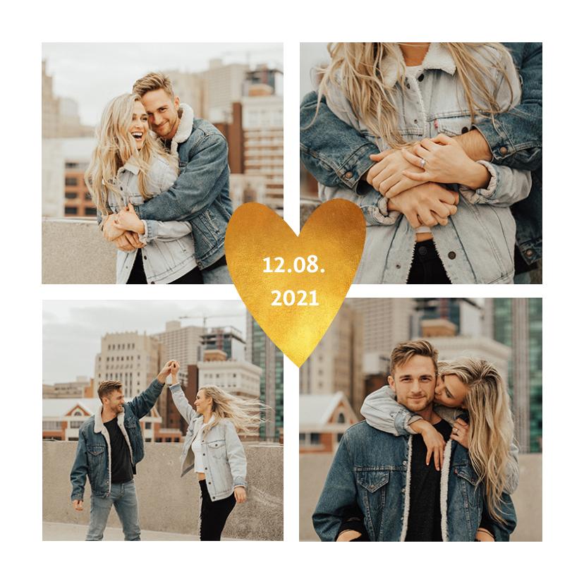 Trouwkaarten - Save the date trouwkaart stijlvolle fotocollage