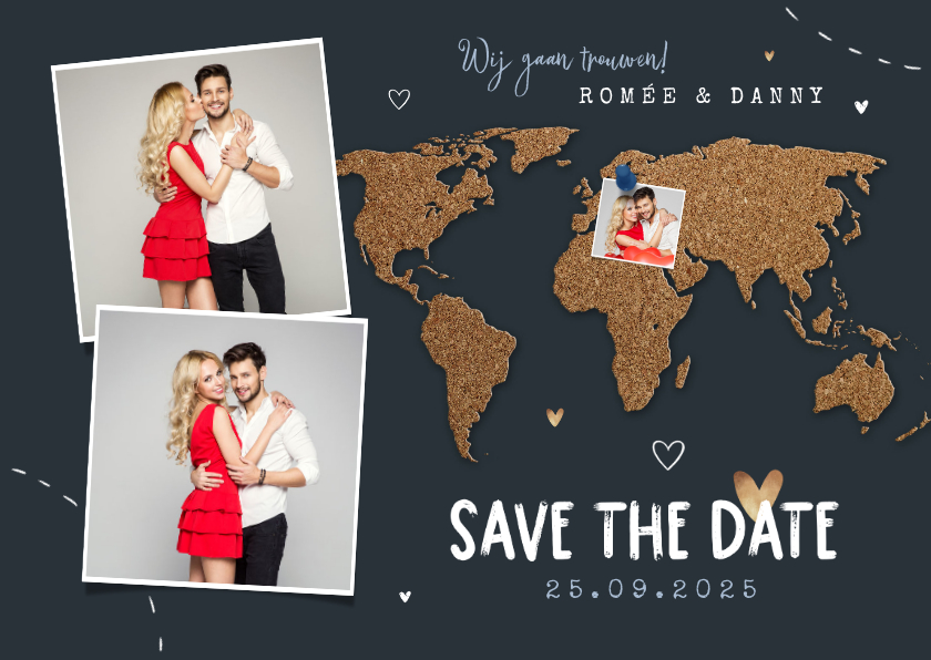 Trouwkaarten - Save the date trouwkaart wereld kurk punaise foto's