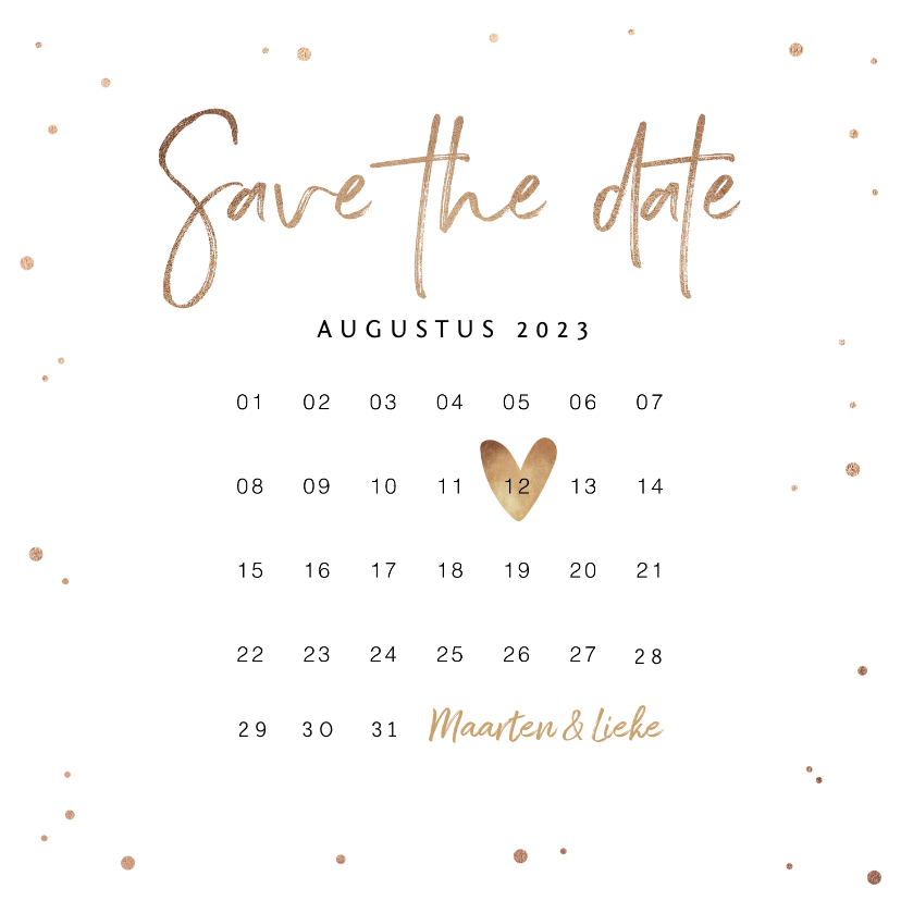 Trouwkaarten - Save the date uitnodiging stijlvol goudlook confetti