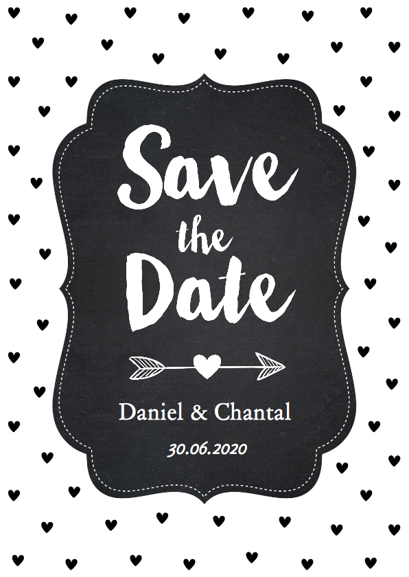 Trouwkaarten - Save the Date zwart-wit hartjes