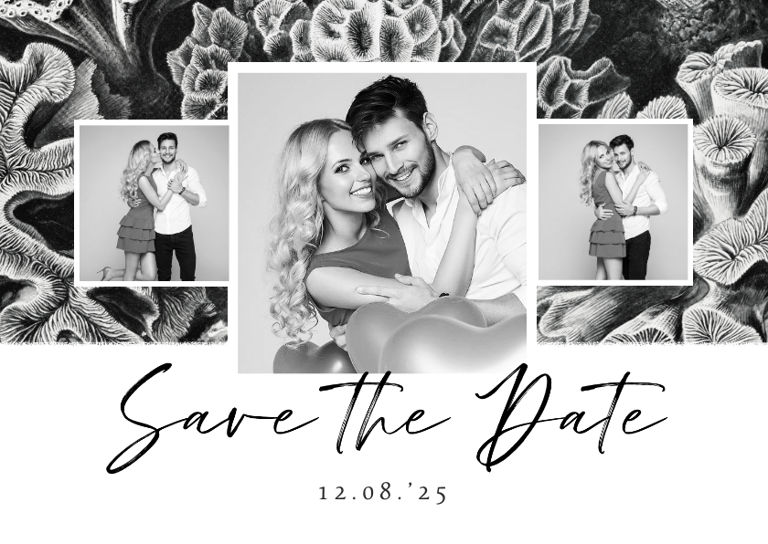 Trouwkaarten - Save the Date zwart wit stijlvol foto natuur kunst koraal