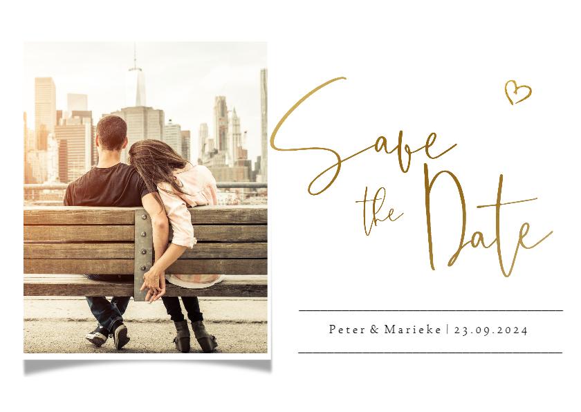 Trouwkaarten - Save the datekaart met eigen foto en gouden tekst en hartje