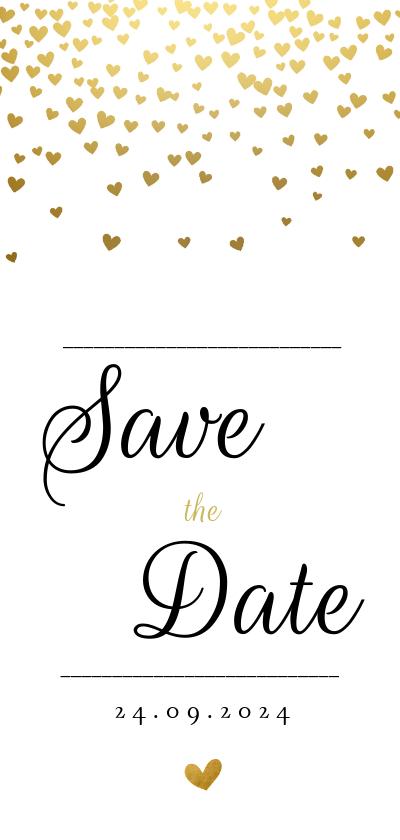 Trouwkaarten - Save the datekaart met gouden hartjesregen
