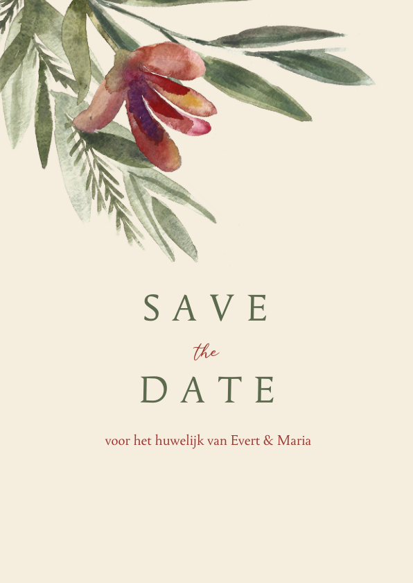 Trouwkaarten - Save the datekaart met roze rode waterverf bloem en takjes