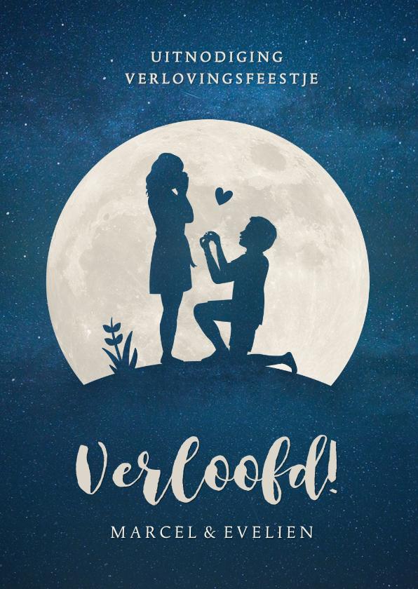 Trouwkaarten - Silhouet verlovingskaart - uitnodiging verlovingsfeest maan