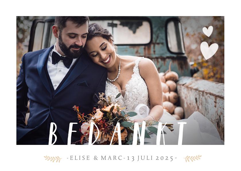Trouwkaarten - Stijlvol bedankkaartje huwelijk met 1 grote foto en namen