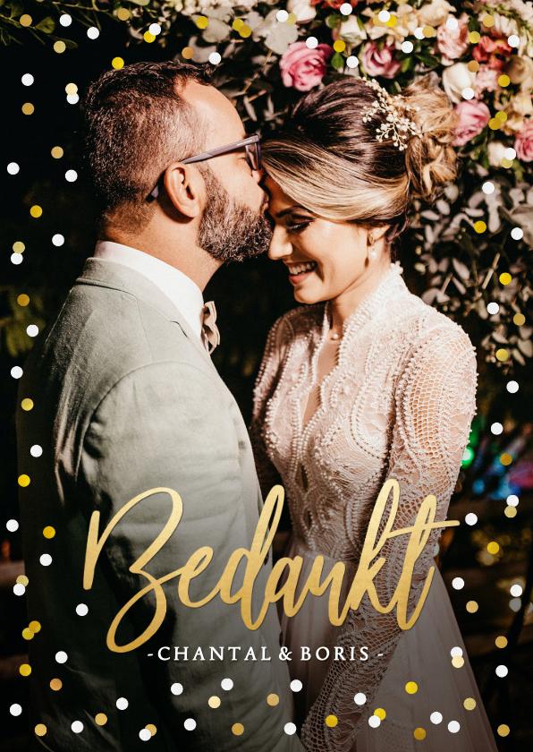 Trouwkaarten - Stijlvol bedankkaartje huwelijk met eigen foto en confetti