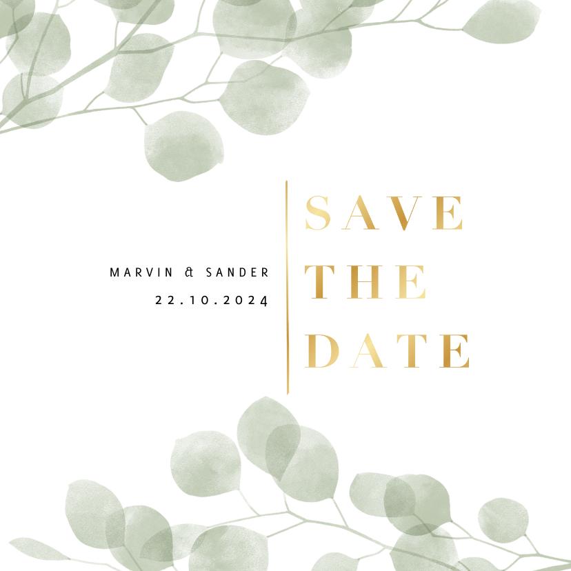Trouwkaarten - Stijlvol eucalyptus groene waterverf save the date kaart
