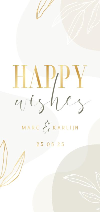 Trouwkaarten - Stijlvol invulkaartje Happy Wishes met blaadjes