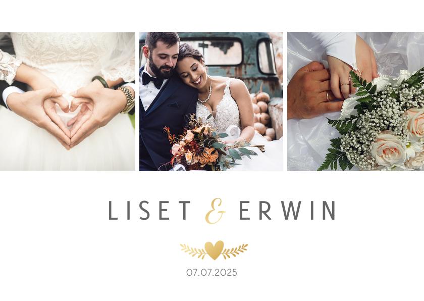 Trouwkaarten - Stijlvolle bedankaart huwelijk - wit met 3 foto's en goud