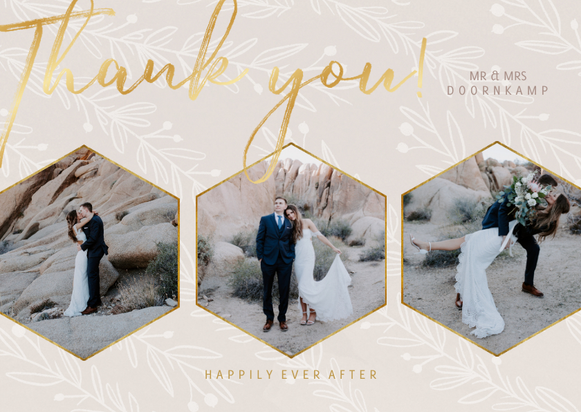 Trouwkaarten - Stijlvolle bedankkaart trouwdag met foto's goudlook naturel