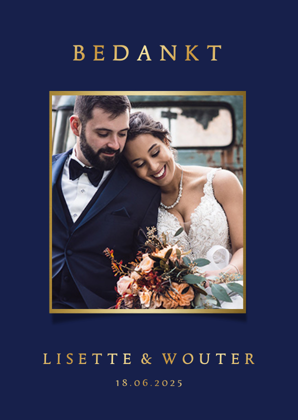 Trouwkaarten - Stijlvolle blauwe bedankkaart trouwen met eigen foto en goud