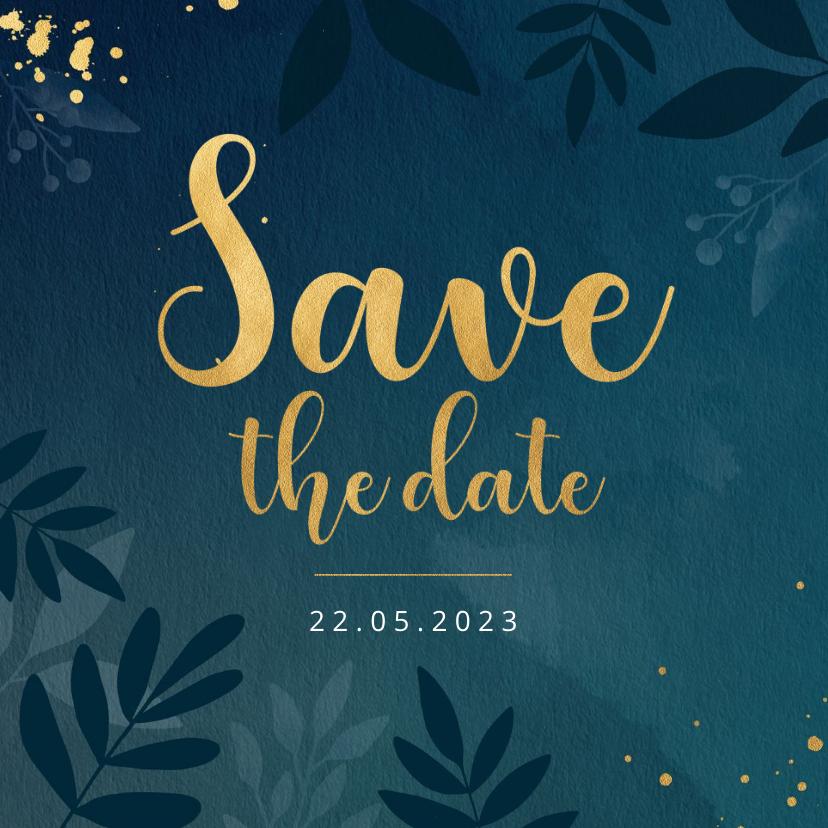 Trouwkaarten - Stijlvolle botanische save the date kaart