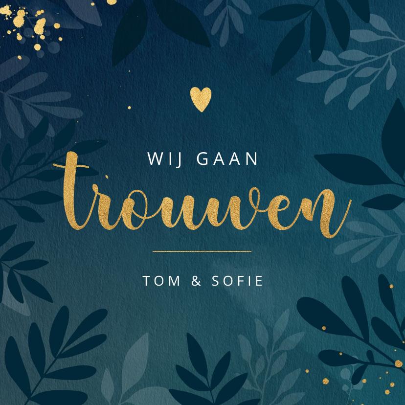 Trouwkaarten - Stijlvolle botanische trouwkaart