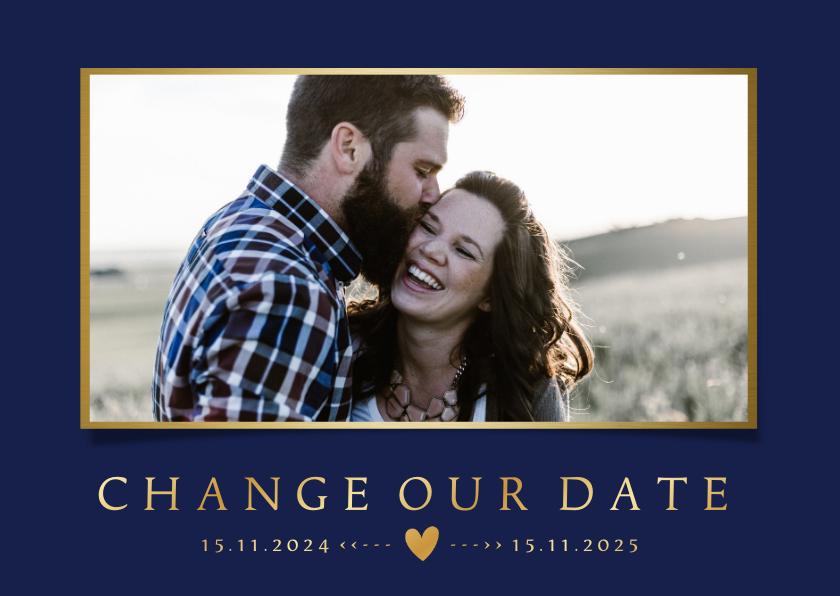 Trouwkaarten - Stijlvolle Change the Date kaart - wijziging trouwdatum