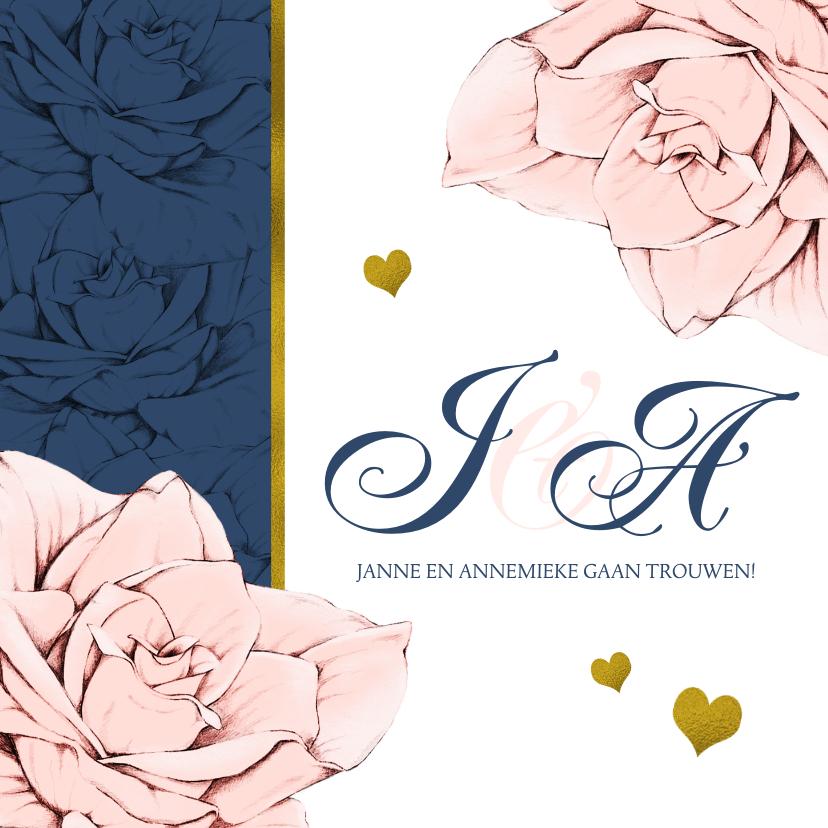 Trouwkaarten - Stijlvolle en originele trouwkaart in navyblue en rozen