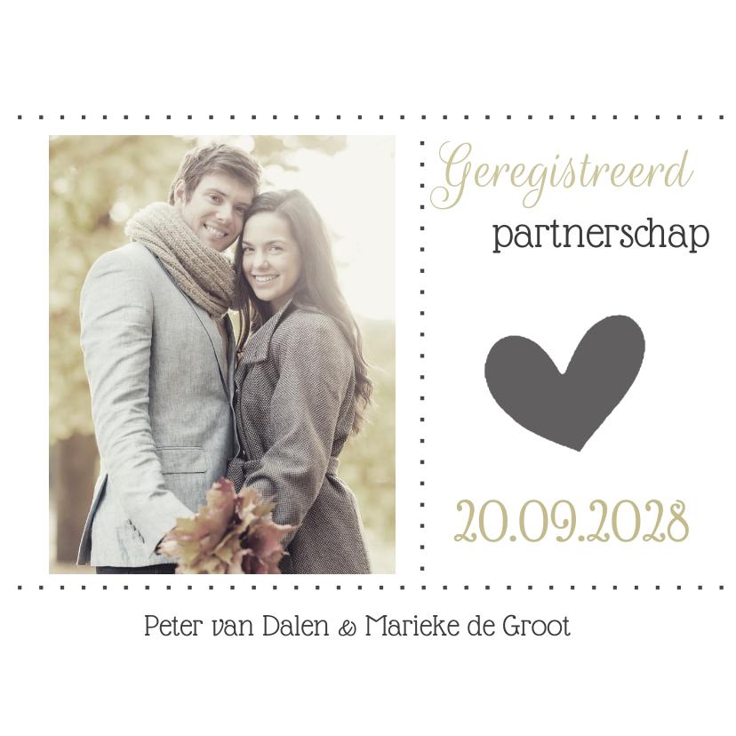 Trouwkaarten - Stijlvolle kaart voor geregistreerd partnerschap met foto