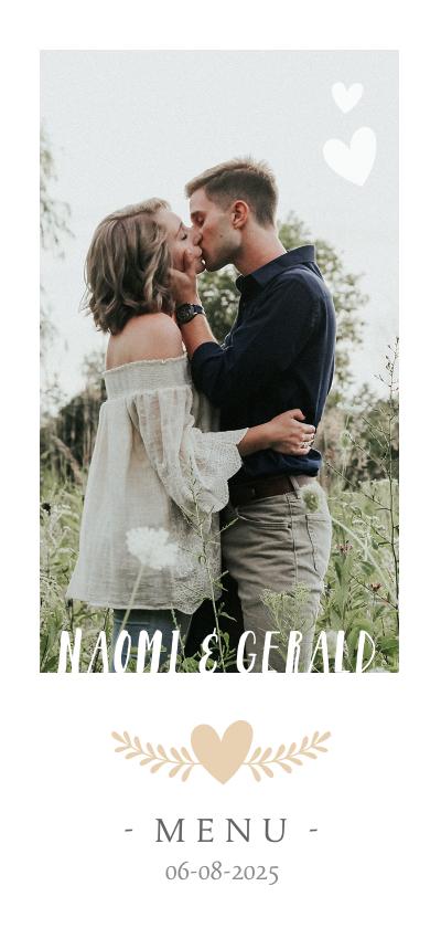Trouwkaarten - Stijlvolle langwerpige menukaart voor een huwelijk met foto