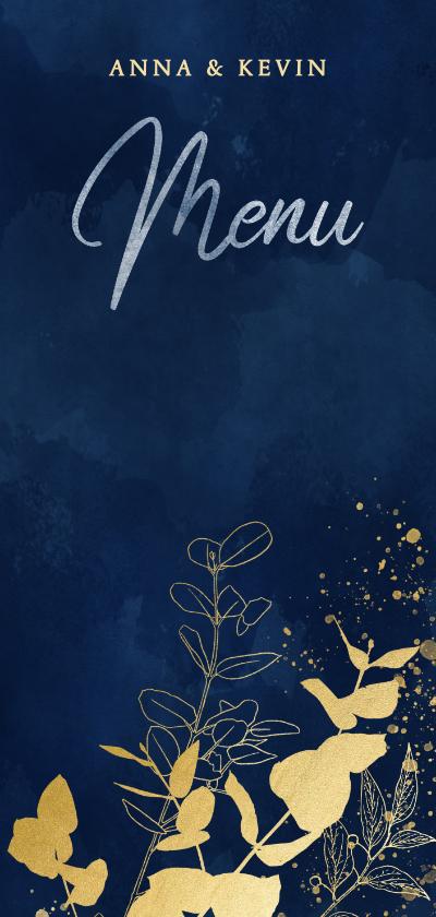 Trouwkaarten - Stijlvolle menukaart gouden takjes blauwe waterverf