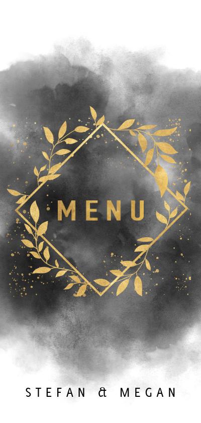Trouwkaarten - Stijlvolle menukaart waterverf, gouden takjes en spetters