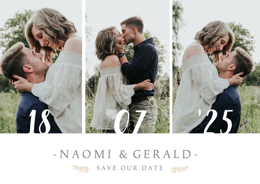 Trouwkaarten - Stijlvolle Save the Date kaart met 3 foto's en trouwdatum