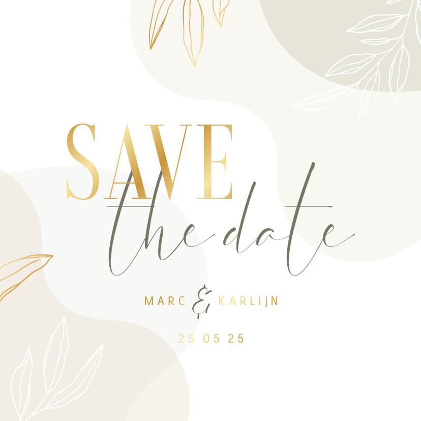 Trouwkaarten - Stijlvolle Save the Date kaart met lijntekening van bladeren