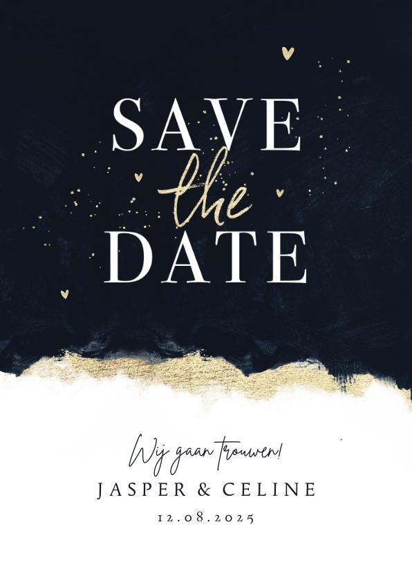 Trouwkaarten - Stijlvolle save the date trouwkaart met inkt verf en goud