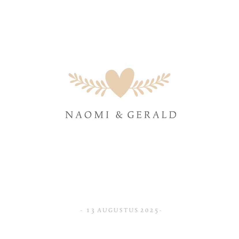Trouwkaarten - Stijlvolle simpele vierkante uitnodiging huwelijk met hartje