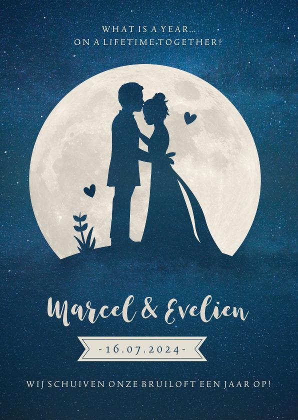 Trouwkaarten - Stijlvolle trouwkaart nieuwe datum met silhouetje en maan