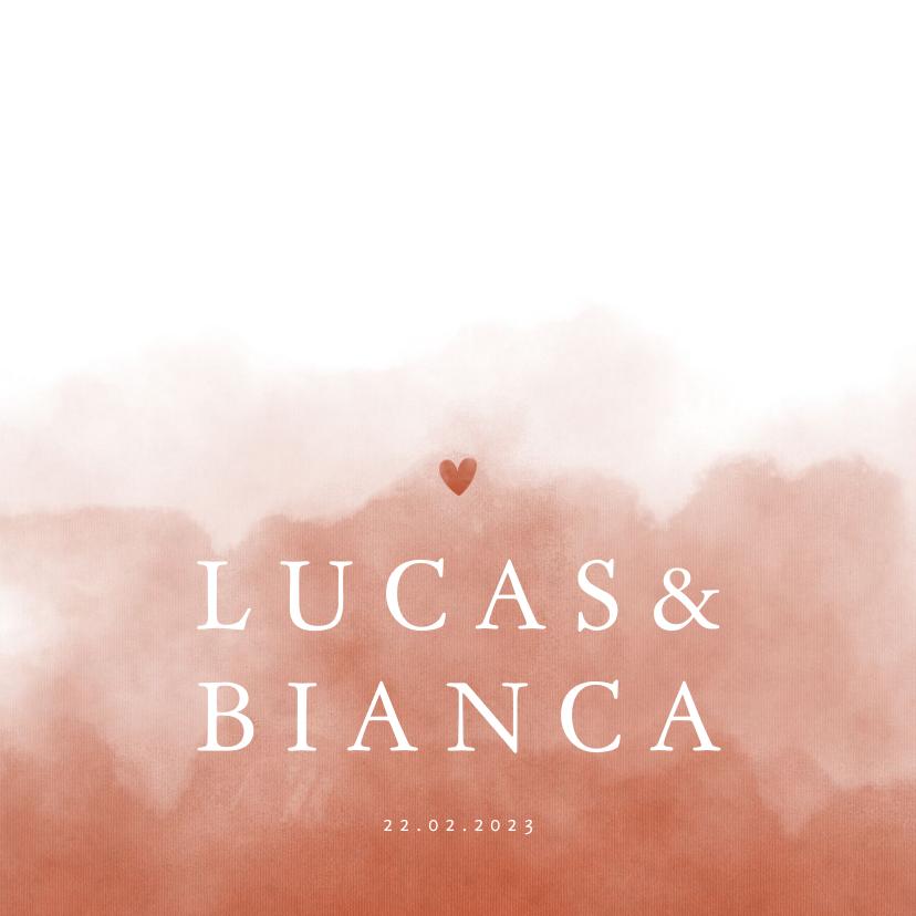 Trouwkaarten - Stijlvolle trouwkaart terra roze waterverf met hartje