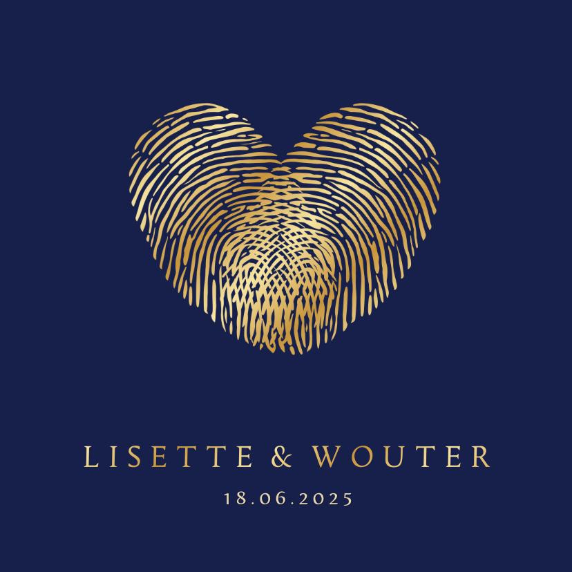 Trouwkaarten - Stijlvolle trouwkaart vingerafdrukken in gouden hartje