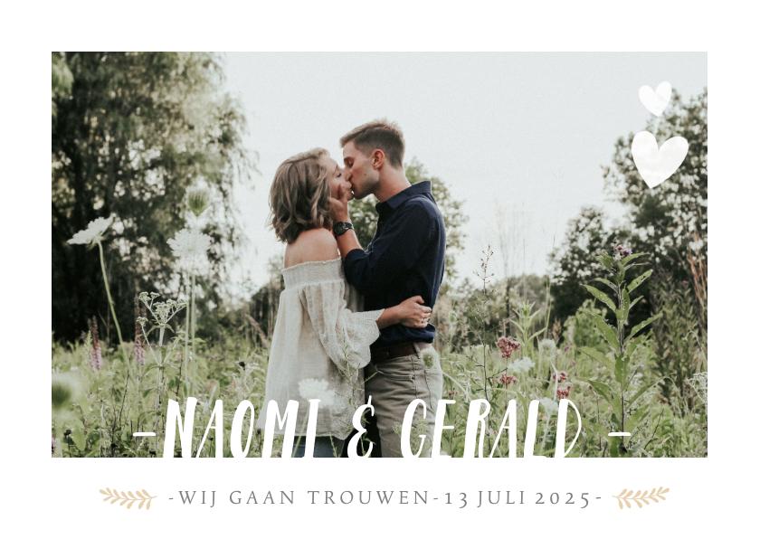 Trouwkaarten - Stijlvolle uitnodiging huwelijk met grote foto en namen