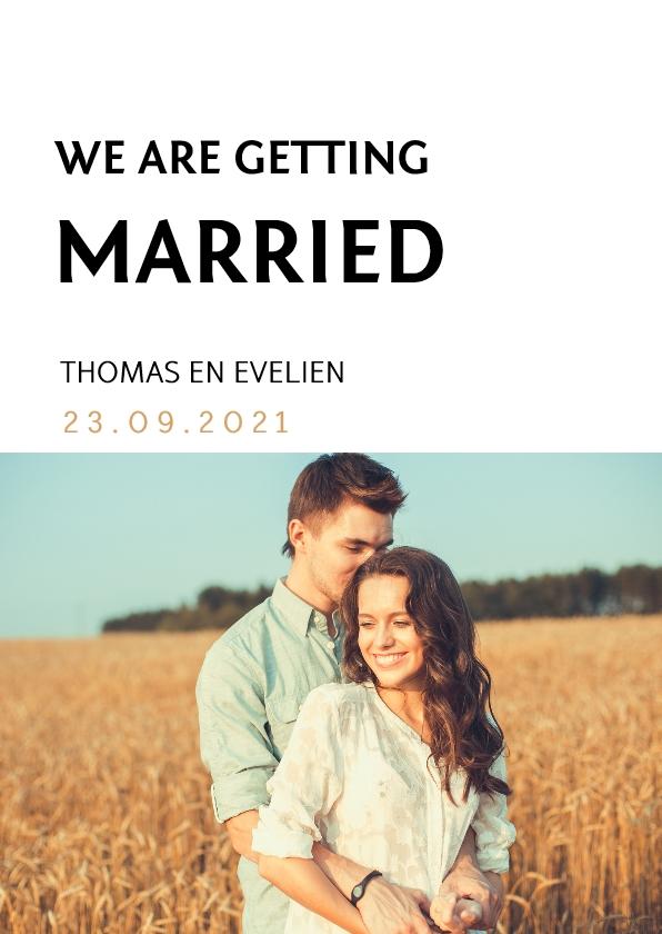 Trouwkaarten - Strakke trouwkaart met een eigen foto