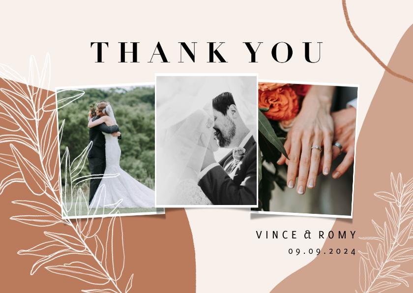 Trouwkaarten - Trendy bedankkaart bruiloft abstracte vormen en takje