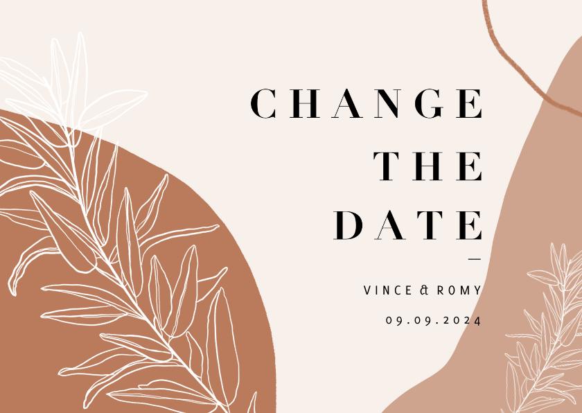 Trouwkaarten - Trendy Change the Date kalender abstracte vormen en plantje