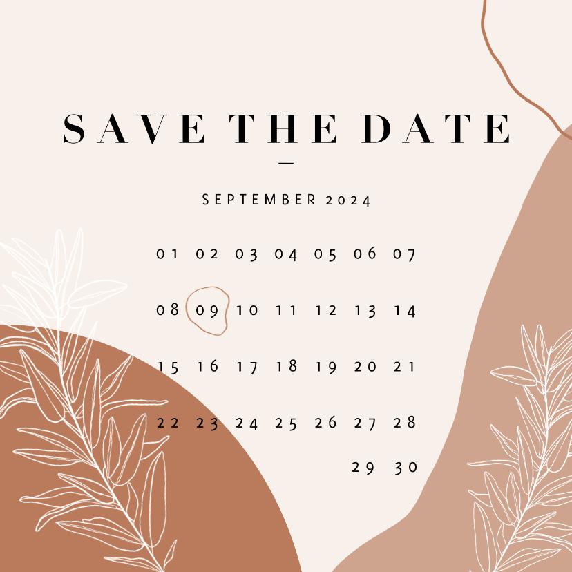 Trouwkaarten - Trendy Save the Date kalender abstracte vormen en plantje