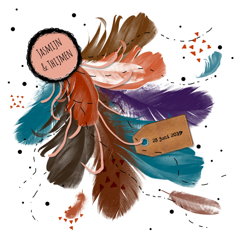 Trouwkaarten - Trouwen boho veren kleur - HR
