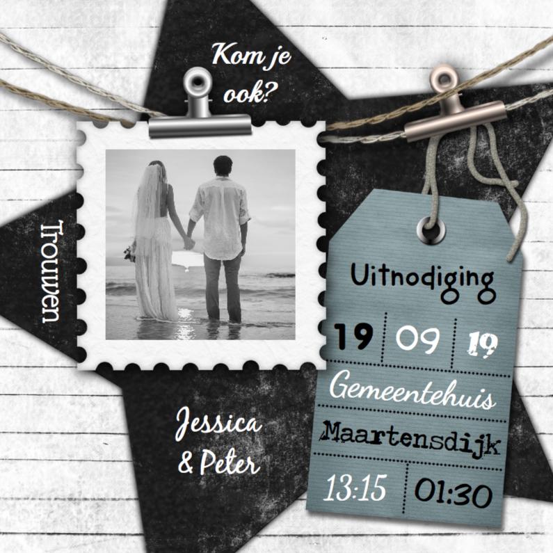 Trouwkaarten - Trouwen foto label en hout a