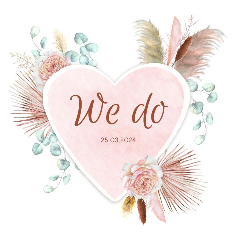 Trouwkaarten - Trouwen hart droogbloemen