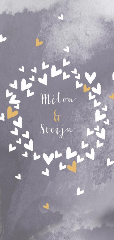 Trouwkaarten - Trouwen hartjescirkel lila grijs