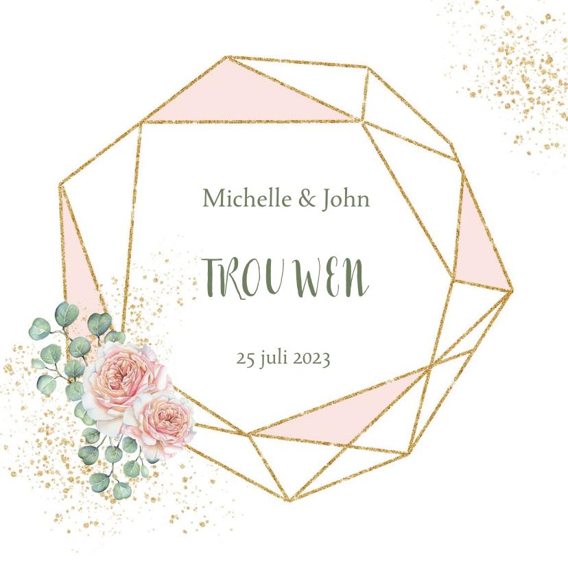 Trouwkaarten - Trouwen rozen geometrisch