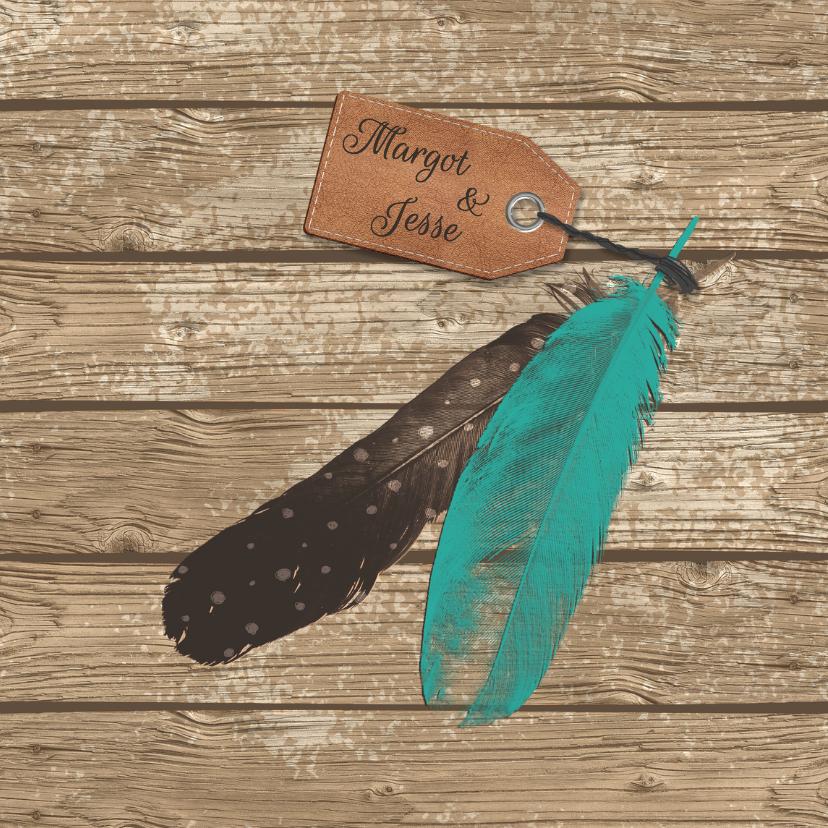 Trouwkaarten - Trouwen veren label hout - HR