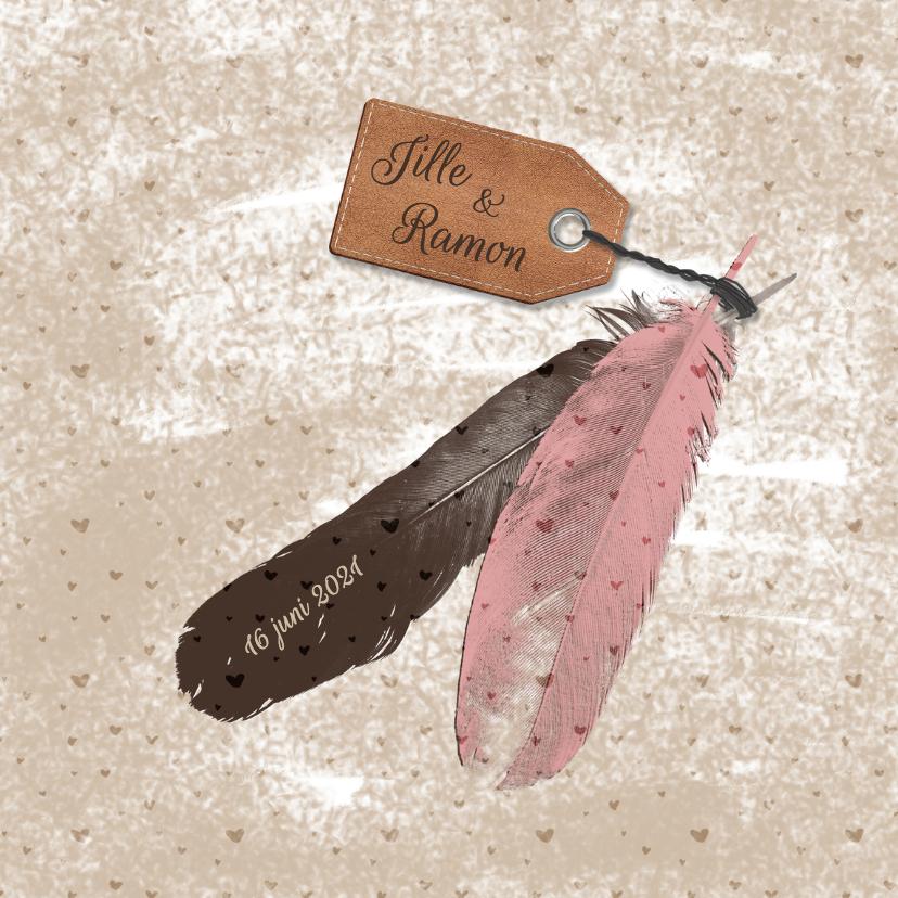 Trouwkaarten - Trouwen veren label zand - HR