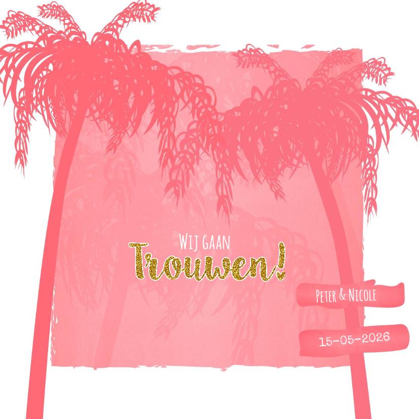 Trouwkaarten - Trouwen zomer palm strand