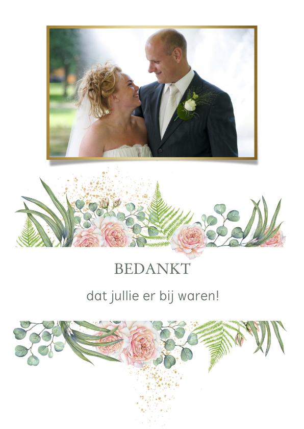 Trouwkaarten - Trouwkaart bedankt botanische rozen