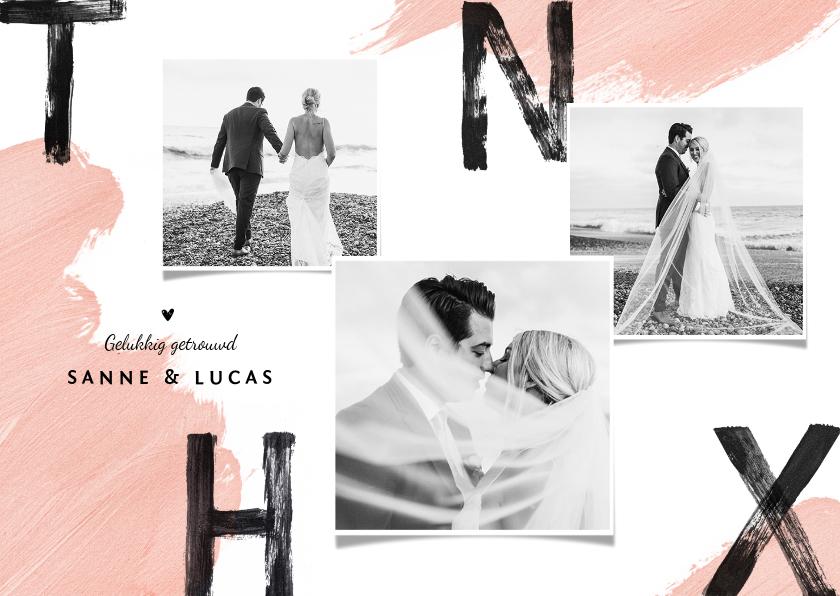 Trouwkaarten - Trouwkaart bedankt wedding thnx fotocollage verf