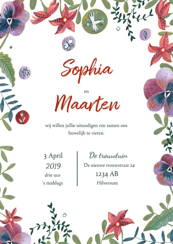 Trouwkaarten - Trouwkaart botanische bruiloft set