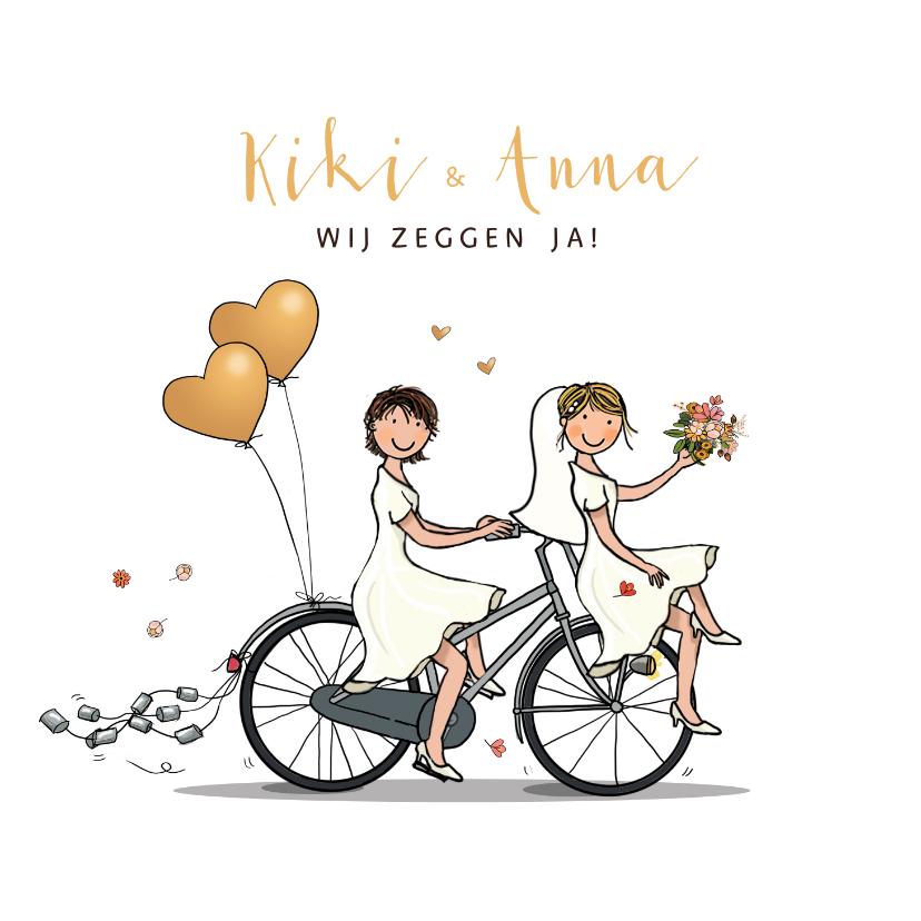 Trouwkaarten - Trouwkaart bruiden fiets en blikjes