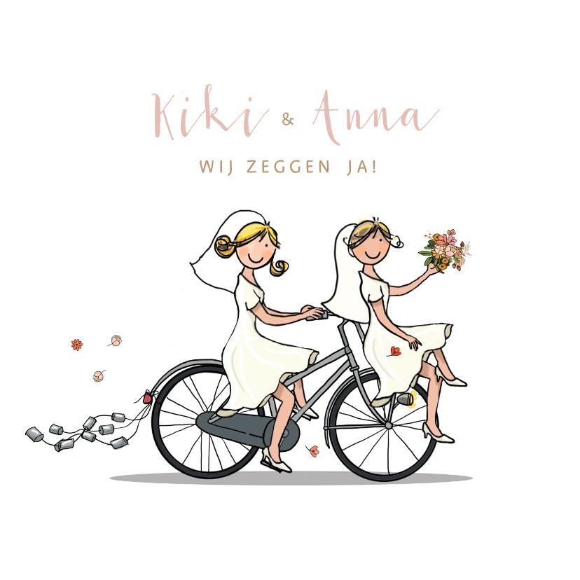 Trouwkaarten - Trouwkaart bruiden fiets en molen