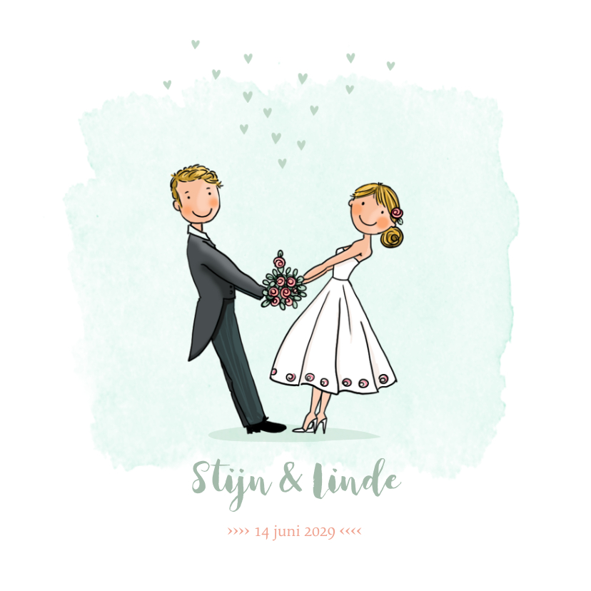 Trouwkaarten - Trouwkaart bruidspaar waterverf